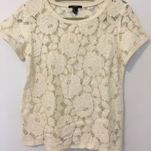 Forever 21 - Cream Floral Lace Top